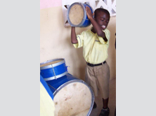 kid with new drums
