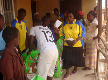 Distribution of rice bags in Sierra Leone